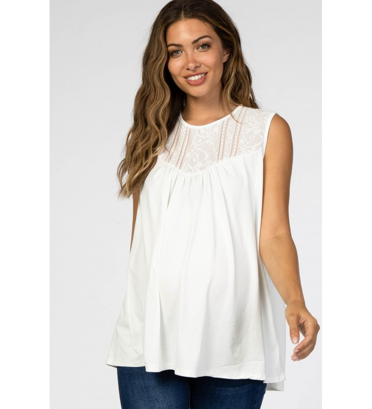 Ivor  Lace Inset Maternit  Sleeveless Top