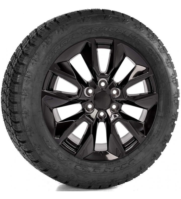 20 inch Gloss Black RST  Wheels with Nitto 275/60R20 A/T Tires Rims SET Includes TPMS sensors and 24 Polished Stainless Lug Nuts for 2014-2019 Chevy Silverado Tahoe Suburban