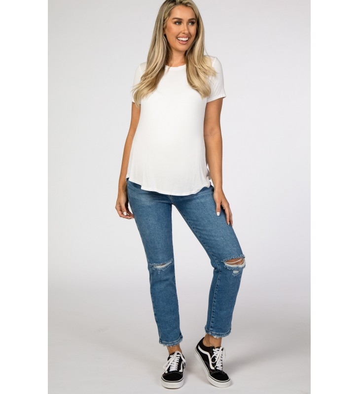 Blue Distressed Ripped   Cropped Maternity Jeans