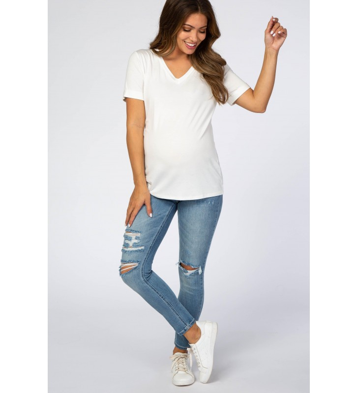Light Blue Distressed Cropped Maternity Je s