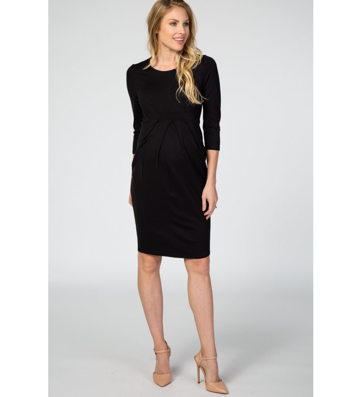 Black 3/4 Sleeves Front Pleated Maternit  Dress